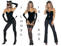 Sexy Kitten Costume Corset Leggings Stockings Gloves Collar Mask 3 looks 1 7684 #ShirleyOfHollywood #CompleteCostume