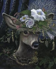 Giclee Print: Datura Moon Hat by Carolyn Schmitz : Art Prints, Folk Art, Animal Art, Art Drawings, Fantasy Art, Whimsical Art, Animal Illustration, Animal Paintings, Deer Art