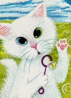 Curious Kitties Odd Eye White Bubbles  Original by AmyLynBihrle, $35.00