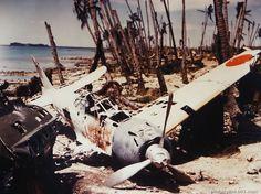 "A demolished Jap ""Zero"" found on Munda, New Georgia, in the Solomon Island Group."