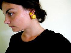 Double Sided Earrings-Fake Gauges, Double Bead Earrings, Yellow Earrings, Contemporary Jewelry, Wooden Earrings