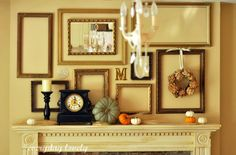 So simple and unique, created by Everyday Lovely. The vintage frames are beautifully positioned and layered with a few pumpkins, clock, and wreath – gorgeous