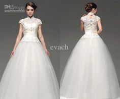 Wholesale Wedding Dress - Buy Particular Tang Suit Style Chinese Collar Hollow Ball Gown Short Sleeve Tulle Wedding Dresses Floor Length White Custom Made Vintage Za02, $149.0 | DHgate