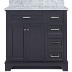 allen   roth Roveland Gray Undermount Single Sink Birch Bathroom Vanity with Natural Marble Top (Common: 36-in x 22-in; Actual: 36-in x 22-in)