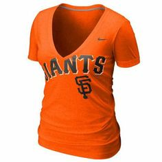 Nike San Francisco Giants Ladies Deep V Burnout T-Shirt - Orange