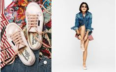 Superga's and Man Repeller tennis shoes, love the way the extra long laces are tied like point ballet shoes!!