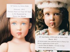 I enjoyed repainting Kathy Kish's face.  The doll story of Kathy is at this link, with sixteen pictures:  ♡  http://nancyleemoran.com/UniqueDoll/BabysitterGiselle2011.php ♡ #Kish #doll #MHD