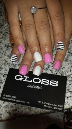 Pink black and white nail art