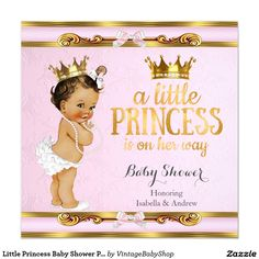 Little Princess Baby Shower Pink Gold Brunette Invitation