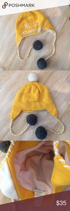 Kate Spade Hello Sunshine Winter Hat Kate Spade Hello Sunshine winter hat. SO cute. Never worn. Fleece-lined interior. kate spade Accessories Hats