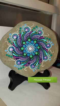 Large hand painted stone From the shores of Lake Erie Size: approx. inches in diameter Protective UV resistant varnish so colors will not fade Stone Art Painting, Dot Art Painting, Pebble Painting, Pebble Art, Dot Painting On Rocks, Rock Painting Patterns, Rock Painting Ideas Easy, Rock Painting Designs, Paint Designs