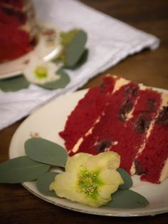 Red velvet layer cake with cinnamon and cherries