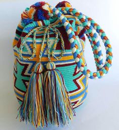 Wayuu Bag-Pom Pom Mint Blue - Alynshop