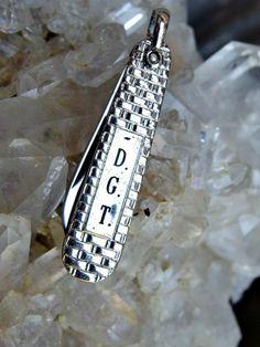 """Monogrammed Pen Knife Fob in Original Box, Forstner Brand with Stainless Steel 1 1/8"""" Blade, 'D.G.T.' Monogram, Swivel Bail, Chrome Finish by postGingerbread on Etsy"""