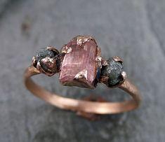 Raw Pink Tourmaline Diamond 14k Rose Gold Engagement Ring Wedding One Of a Kind Gemstone Ring Bespoke Three stone Ring byAngeline