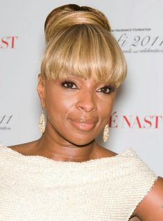 Mary J. Blige with bangs & updo. Pretty Color.                                                                                                                                                     More
