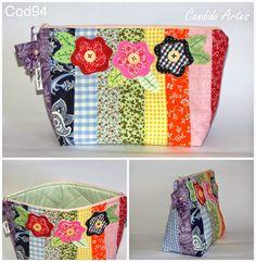 Artesanato Candido Artes: Necessaire em patchwork colors com aplique de flor