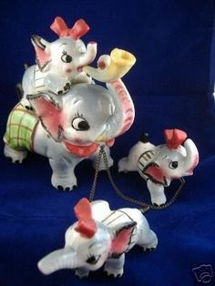 Hand Painted Elephant Chained Figurine Set | #39473377