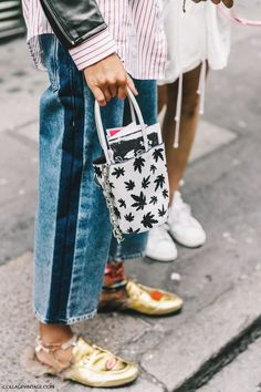 Fall winter inspo | Denim | Stripe to the side | Bucket bag | Leaves | Loafers | Golden | Metallic | More on Fashionchick