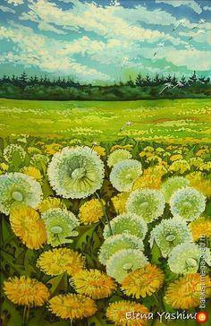 Одуванчики. Жизнь продолжается - батик, картины с цветами. МегаГрад - авторская ручная работа