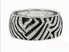 "Amazon.com: Zebra Crystal & Rhinestone Hinged Bangle 2"" Wide by Jersey Bling: Jewelry"