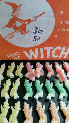 ORIGINAL BOX WITH 43 PIECES ASSORTED COLORS wax witches penny nip candy containers candy from the The box is in good original condition but it does have tears,staining,wrinkling,and slight wear. Retro Halloween, Vintage Halloween Images, Vintage Halloween Decorations, Scary Halloween, Happy Halloween, Halloween Stuff, Halloween Pumpkins, Halloween Makeup, Fairy Halloween Costumes