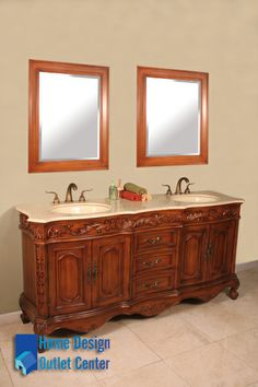 This Bathroom Vanity Is Freestanding And Antique In Style With Medium Wood  Colored Cabinet. It
