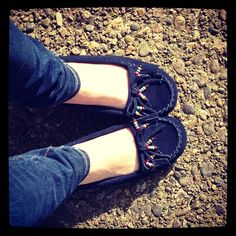 Navy beaded #Minnetonka moccasins #shoes