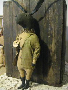 Primitive folk Easter Rabbit Doll #NaivePrimitive