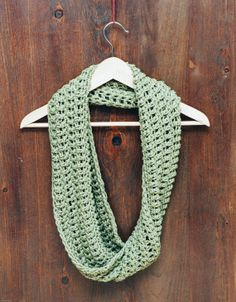 Spring Crochet Accent Scarf in Olive Green - Lightweight Infinity Cowl