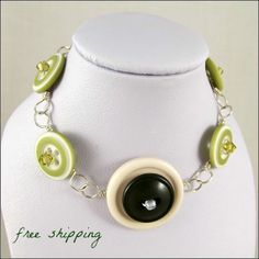 Vintage Green and White Button Bracelet with by BurntSkyDesigns, $25.00