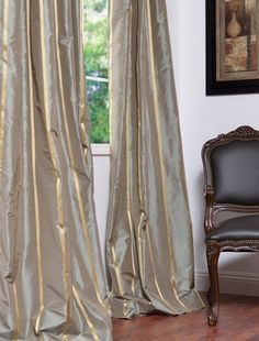 HPD, DRAPES  Providence Silk Taffeta Stripe Curtains & Drapes: HPD'S exclusive Silk and Taffeta drapes & curtains represent extravagant luxury with beautiful details. Tailored from the finest silks.   Exclusive Standard Features:  100% Silk  High Quality Cotton Lining  Flannel Interlined  Drapery Hooks Included  Limited Sizes Online. For Additional Sizes Please Call  Available In 5 Different Top Headers  50w X 96L lined pole pocket =$349.00