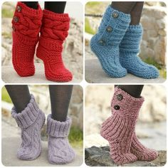 Here you'll find more than free knitting patterns and crochet patterns with tutorial videos, as well as beautiful yarns at unbeatable prices! Knitting Patterns Free, Knit Patterns, Free Knitting, Free Crochet, Knit Crochet, Crochet Boots, Knitted Slippers, Drops Design, Knitting Socks