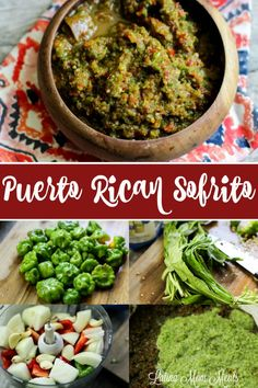 Authentic Puerto Rican Sofrito Recipe - Latina Mom Meals Ever wonder how your favorite Hispanic friend makes their food taste so bold and yummy? It's usually a sure thing that they have sofrito in it! Puerto Rican Sofrito, Puerto Rican Dishes, Puerto Rican Cuisine, Puerto Rican Recipes, Mexican Food Recipes, Ethnic Recipes, Sofrito Recipe Dominican, Vegetarian Recipes, Arroz Con Pollo