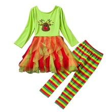 Autumn Children Clothing Girl Sets 2pcs Kids Girls Outfit Suits Christmas Tutu Dress+Stripe Pants Cartoon Halloween Costume Sets(China (Mainland))