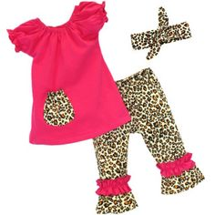 Super Cute Pink and Cheetah Print 3 Piece Ruffle Boutique Outfit WITH Headband  Cute boutique outfit