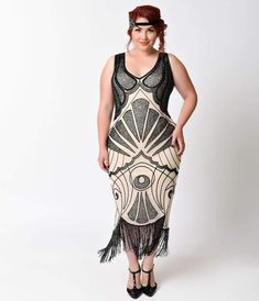 1c6012b6598 Unique Vintage Plus Size Ivory   Black Beaded Vienna Mesh Fringe Flapper  Dress Gatsby Dress Plus