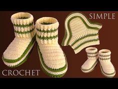 Zapatos con Ganchillo Crochet tejidos en Punto elástico tamaño adulto - YouTube Loom Knitting Patterns, Crochet Patterns, Knitting Tutorials, Free Knitting, Crochet Ideas, Stitch Patterns, Crochet Boots, Crochet Purses, Easter Crochet