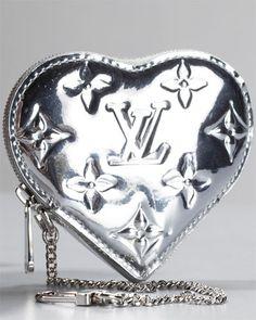 Louis Vuitton Monogram Miroir Silver Mirror Heart Coin Purse