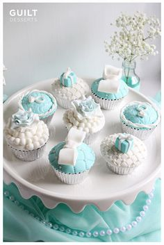 Tiffany Bridal Shower Cupcakes - by guiltdesserts @ CakesDecor.com - cake decorating website