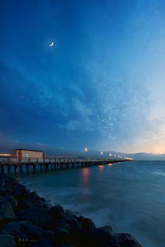 Night at Berkeley Pier, Berkeley, California by Lee Sie