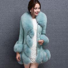 Купить 2015 new high quality women's! fur coat fox fur collar sheep skin fox long coat winter coat women's plus size S 4XLи другие товары категории Мех натуральный и искусственныйв магазине longju988наAliExpress. пальто осень и пальто blazer