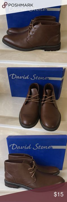 New box David Stone brown lace up men's boots  9.5 New box David Stone brown lace up men's boots sz 9.5 * right boot is missing a metal lace grommet and has a slight tear- can be easily repaired cheaply at shoe repair shop sold as is David Stone Shoes Boots