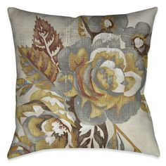 Charlton Home Fallsburg Blooms Throw Pillow Size: x Location: Indoor/Outdoor Black Throw Pillows, Outdoor Throw Pillows, Accent Pillows, Floral Motif, Floral Prints, Pillow Inserts, Pillow Covers, Modern Floral Design, Decorative Pillows