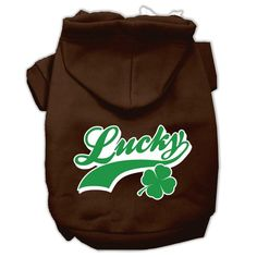 Lucky Swoosh Screen Print Pet Hoodies Brown Size XXL (18)