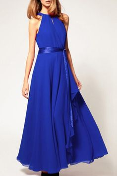 Halterneck Sleeveless Chiffon Maxi Party Dress
