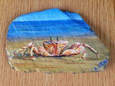 Crab on beach, acrylic on slate Slate, Christmas Gifts, Paintings, Beach, Art, Xmas Gifts, Art Background, Chalkboard, Christmas Presents