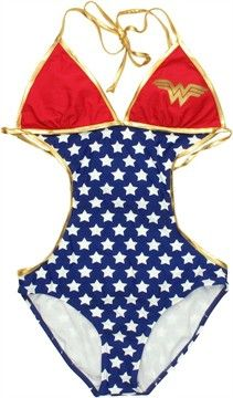 Wonder Woman Triangle Monokini Swimsuit...I'm not big on bikinis so when I get my side tattoo done this will be perfect to show it off