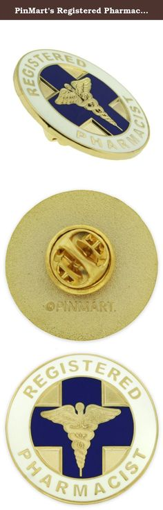 PinMart's Registered Pharmacist Medical Caduceus Lapel Pin. Registered Pharmacist Lapel Pin. This pin is perfect for a newly registered pharmacist or a veteran to pharmacy. It is die struck from jewelers metal, soft enamel color filled and features a gold caduceus in the center of this rich quality pin. This is smooth to the touch, finely polished and gold plated. It is a perfect pin to attach to your lab coat, lanyard or I.D. badge. Each includes a standard clutch back and is…