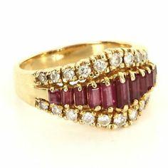Vintage 14 Karat Yellow Gold Diamond Ruby Anniversary Ring Fine Estate Jewelry $795